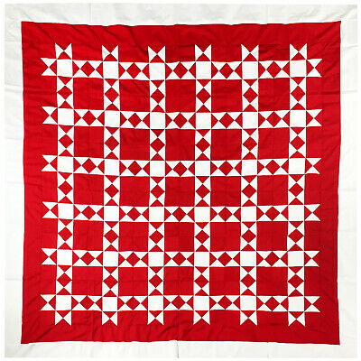 Red and White - Star based Graphic QUILT TOP - Queen