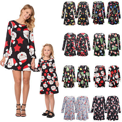Mother Daughter Matching Christmas Dress Mom Girl Dresses Family Clothes Outfit