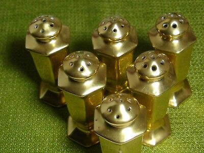 3 Pairs Of Elegant Pickard China Gold Encrusted Salt & Pepper Shakers, Good Cond
