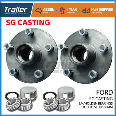 Trailer Hubs 5 Stud Ford Trailer Lazy Hubs Kit With Holden Bearings (Lm) Sg Cast
