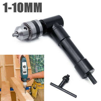 """Cordless Right Angle Drill Attachment Adapter + 3/8"""" Keyed Chuck 8mm Hex Shank"""