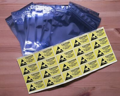 20 pcs Anti-Static Shielding Zip Lock Bags 10x15cm w/ Stickers - AU Stock