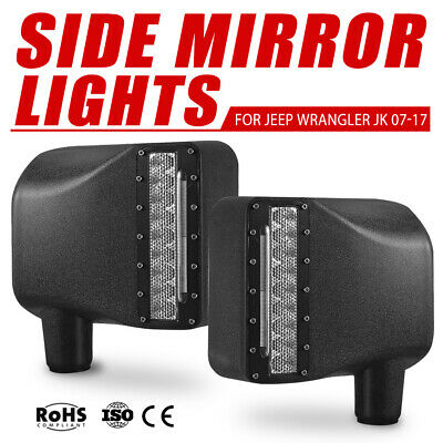2x Side Mirror LED Lights Turn Signal 27W Offroad For 07-17 Jeep Wrangler JK