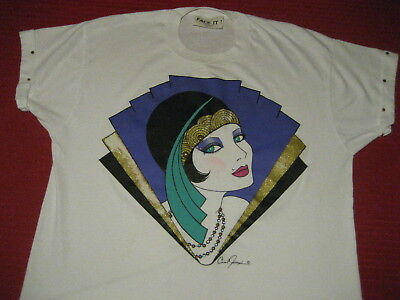 VTG 80s Art Deco Carol Joseph Miami FACE IT beadazled fancy lady Flapper T shirt