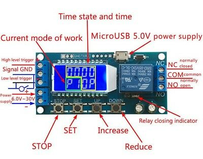 LCD Digital Timer Relay Delay Switch Time-delayed trigger Cycle timing circuit