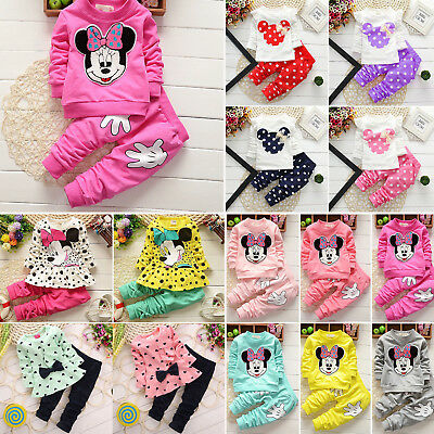 Kid Baby Girl Minnie Mouse Sweatshirt Tops + Pants Tracksuit Outfits Clothes Set