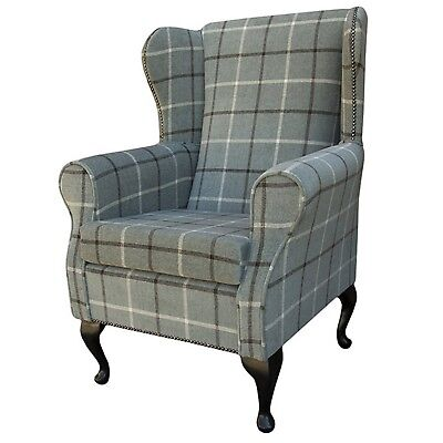 High Back Armchair Green Fabric Wing Chair Queen Anne Fireside Living Room UK