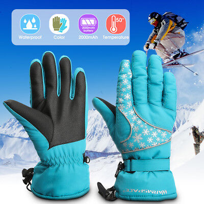 WARMSPACE Motorcycle Outdoor Men Women Battery Heated Winter Gloves +2 Battery