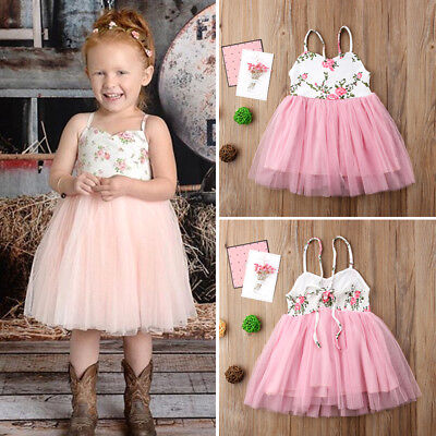 AU Toddler Kids Baby Girl Floral Lace Tulle Pageant Party Formal Dress Sundress