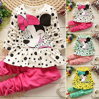 Kids Baby Girls Minnie Mouse Outfits Clothes T Shirt Tops + Pants Clothes Set UK
