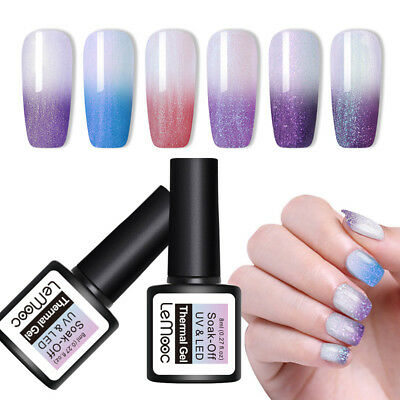 LEMOOC Thermal Color Changing Gel Polish 8ml Shimmer Soak Off Nail Art UV Gel