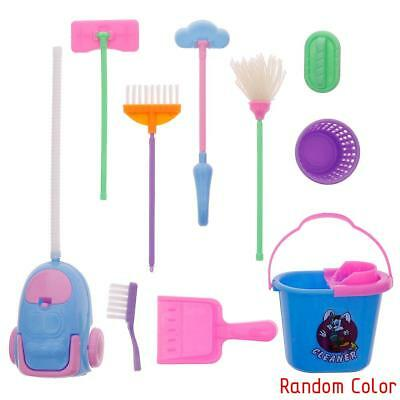 9Pcs/Set Plastic Home Furnishing Cleaning Cleaner Kit For Doll House EB