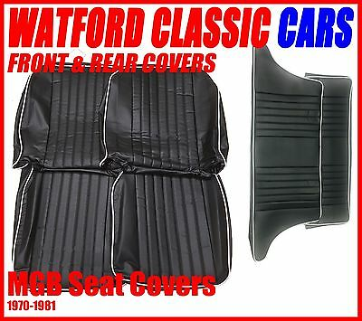 MGB GT Front and Rear Seat Covers 1972 -1981 Black with White Piping