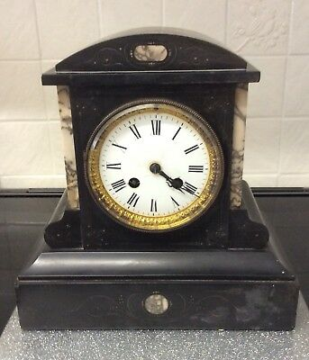 Antique Japy Freres Black Slate And Marble Mantle Clock ++Working Order++