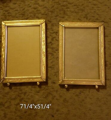 Vintage Antique Beautiful Ornate Brass Footed  Picture Frames - Lot of 2