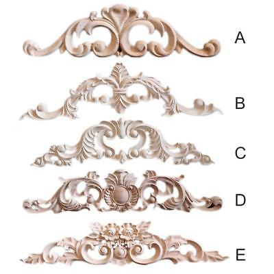 Rubber Wood Carved Corner Onlay Vintage Applique Frame Wall Door Furniture Decor