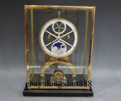 European Retro Bronze Glass Mechanical Swing clockwork Table Clock Timepiece
