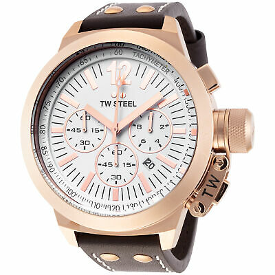 2b1639689c4 TW Steel CE1020 Men s Canteen Chronograph 50mm White Dial Leather Watch