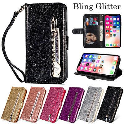 For iPhone X XS Max 6 7 8 Bling Glitter Leather Flip Wallet Card Slot Case Cover