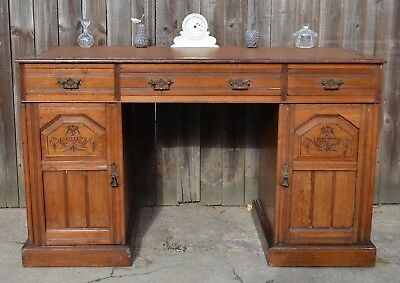 Antique Edwardian Kneehole Writing Desk Twin Pedestal Mahogany Desk Carved Front