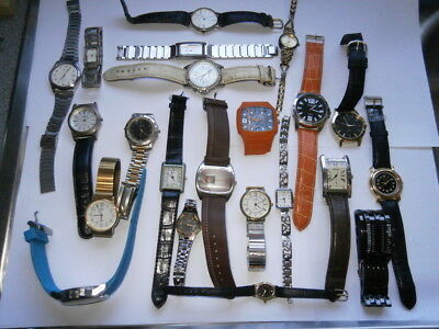 Job lot of old gents ladies quartz watches spares or repair