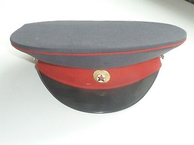 Genuine Vintage Soviet Ussr Russian Army Dark Blue With Red Band Peaked Cap