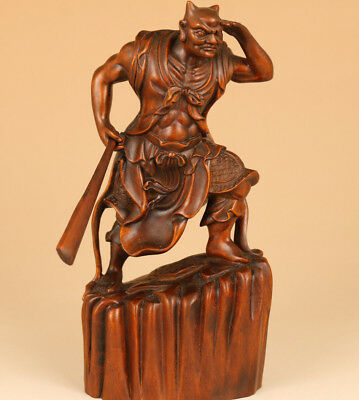 antique big Chinese Old Boxwood Hand Carved buddha clairvoyant Statue feng shui