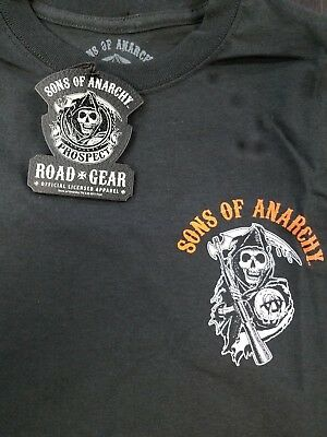 5f34a75e Sons Of Anarchy T-Shirt Left Chest Logo Charming Double Sided Print New !