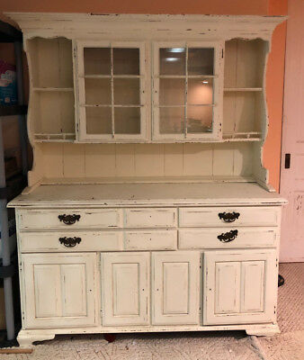 Distressed Buffet China Cabinet Dining Kitchen Farm Sideboard Doors Cupboard