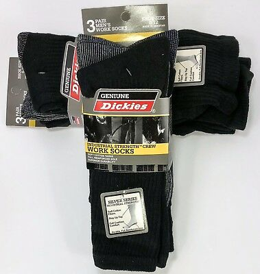 26129c8e1 6 Dickies Men s Work Crew Socks Black Grey 10-13 Sock 6-12