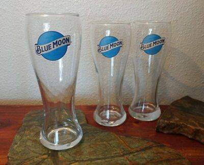Set of 3 Blue Moon 16 Ounce Pilsner Beer Glass FREE SHIPPING