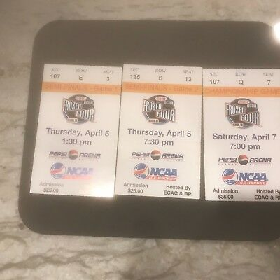 Ncaa- 2001 Men's Frozen Four In Albany Championship -3 Ticket Pack.- Boston Coll