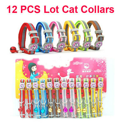 12PCS Breakaway Pet Cat Safety Collar with Bell Reflective Kitten Dog Collar Lot