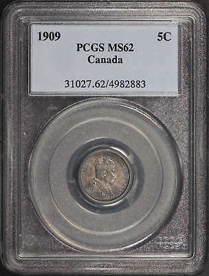 1909 Canada Silver 5 Cents Rounded Leaves PCGS MS-62 -138824