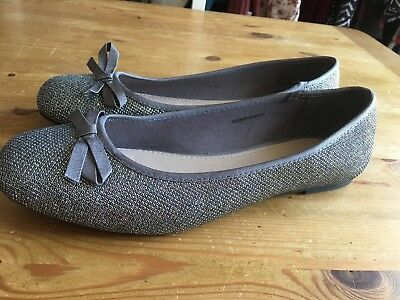 Lovely TU Ladies Silver Flats Size 8 Hardly Worn