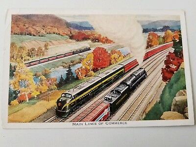 PRR Steam and Diesel Action West of JOHNSTOWN PA 1940s Railroad TRAIN Postcard
