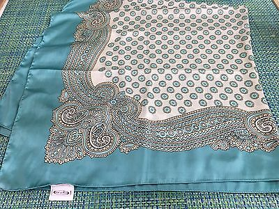 "Womens Aqua Turquoise Paisley Polyester Square Scarf Er Piu Germany 39"" Sq"