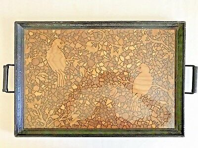 Rare Inlaid Wood & Glass Serving Tray With Mosaic Pattern & Handles
