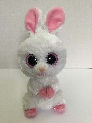 "TY Beanie Boo 6"" Carrots White Bunny Rabbit Solid Pink Eyes 2010 No Hang Tag"