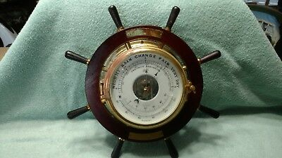 Vtg Schatz Barometer & Thermometer Made W Germany Works Ships Wheel Nautical