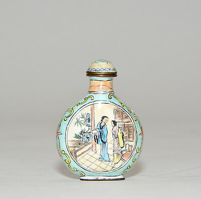 Antique Chinese Qing Hand Painted Enamel Figures Porcelain Snuff Bottle