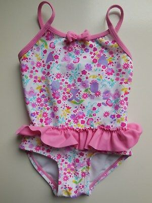 Baby Girl Floral Bathers One Piece Swimwear Suit Size 1 Fits 12M *new