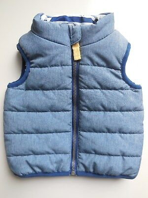 Baby Boy Warm Padded Puffer Vest Top Sleeveless Jacket Size 000 Fits 0-3M *new