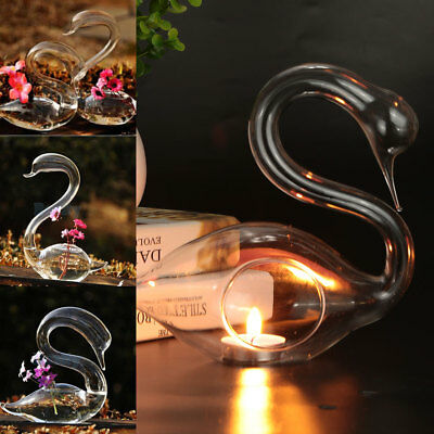 82B0 Beautiful Swan Shaped 3D Party Home Hydroponic Glass Bottle Decor Ornament