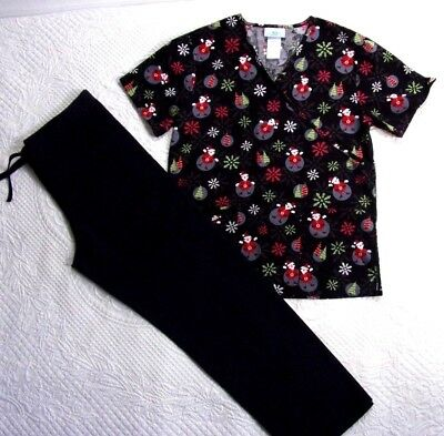 SB Scrubs Top and Black Pants Size Small  with Holiday Santa  Christmas trees