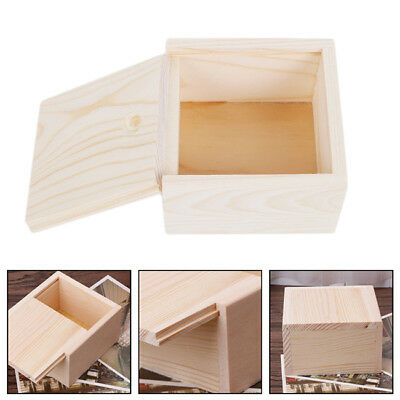 Botique Small Plain Wooden Storage Box Case for Jewelry Small Gadgets Gift S