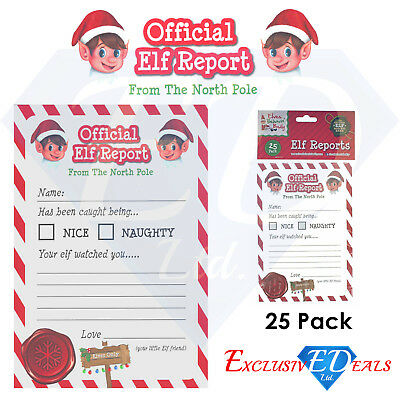 Official Elf Report Card Letters Children Christmas Nice Naughty 25 Pack