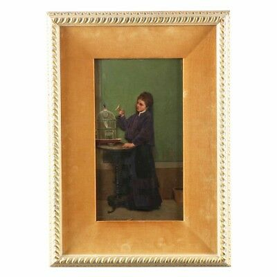 19th Century Antique Oil Painting of Woman with Yellow Bird, signed