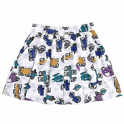 1980s Girls Reebok Tennis Skirt Sz 6 80s Day Costume White Geometric Print Retro