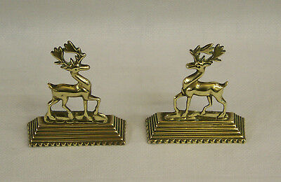 A Pair Of Antique Cast Brass Reindeer Stag Animal Mantle Chimney Ornaments C1890